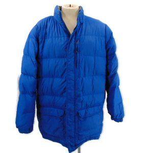 LL Bean Blue Mens Down Puffer Coat XXL Quilted Poc